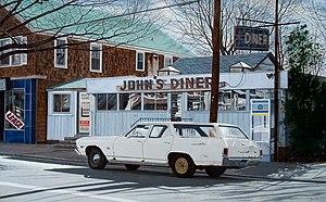 Photorealism - John's Diner with John's Chevelle, 2007 John Baeder, oil on canvas, 30×48 inches.
