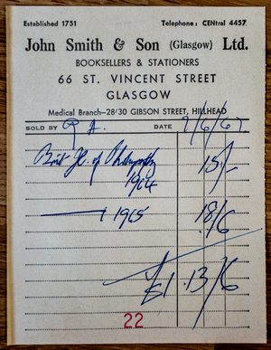 John Smith & Son - Image: John Smith & Son Receipt