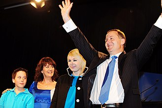 John Key - John Key (right), with (from left to right) son Max, wife Bronagh, and daughter Stephie, celebrating on election night, 8 November 2008
