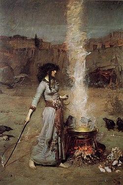En un paisaje desértico, una mujer delante de su caldero traza alrededor de ella un círculo humeante.