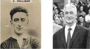 Johnny Halligan - Johnny Halligan as player and later in life