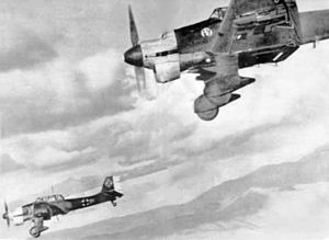 Operation Excess - Few ships survived dive bombing attacks of the intensity Illustrious endured from these Ju87 Stukas.