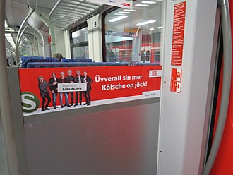 Colognian dialect - Colognian dialect on a sign on an S-Bahn train