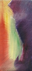 Kleurschets op linnen (landschap?)