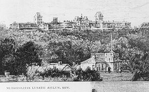 Kew Asylum - Engraving of Kew Asylum circa 1880. Buildings of Yarra Bend Asylum are depicted in the foreground.