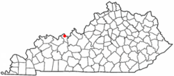 Location of Hawesville, Kentucky