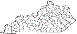 Location of Irvington, Kentucky