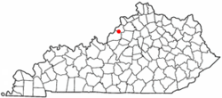 Location of Pewee Valley, Kentucky