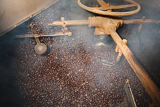 Dry roasting - Coffee beans being roasted