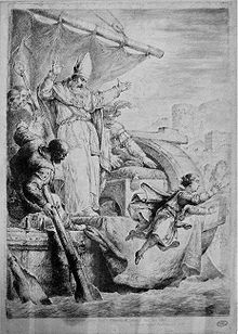 An engraving depicting a boy who jumps from a ship into a river; a bearded bishop raises his arms