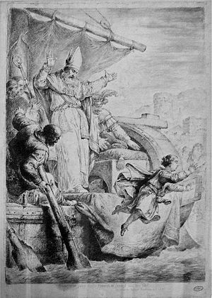 Coup of Kaiserswerth - Emperor Henry Jumps from the Boat of his Kidnappers, acquaforte by Bernhard Rode (1781)