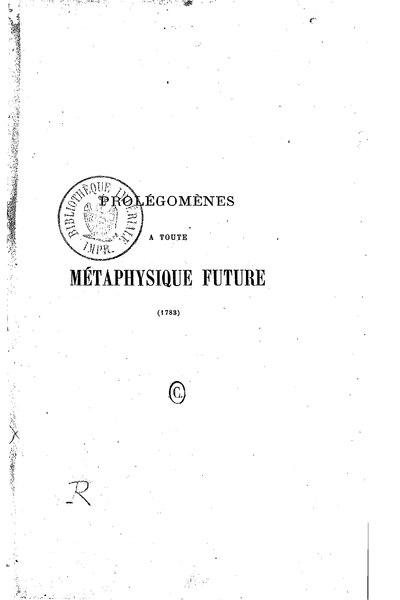 File:Kant - Prolégomènes à toute métaphysique future, trad. Tissot, 1865.djvu