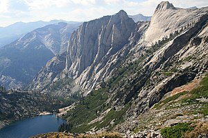 Kaweah River - Hamilton Lake and the Valhalla Cliffs at the headwaters of the Kaweah River