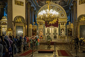 Kazan Cathedral, Saint Petersburg - Interior, people at the iconostasis