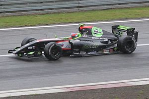 Kevin Korjus - Kevin Korjus at the 2011 Nürburgring World series by Renault round after winning the race