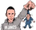 Khaled Mohamed Saeed holding up a tiny, flailing, stone-faced Hosni Mubarak.png