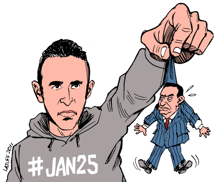 Fájl:Khaled Mohamed Saeed holding up a tiny, flailing, stone-faced Hosni Mubarak.png