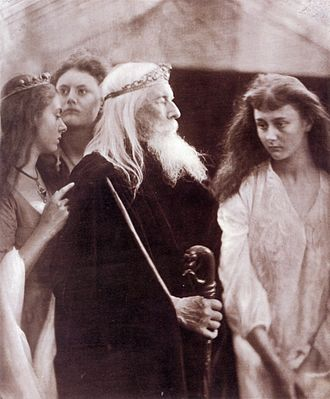 Henry Liddell - Three of Liddell's children (l to r) Lorina, Edith and Alice, photographed by Julia Margaret Cameron in 1872. The central figure is Charles Hay Cameron as King Lear.