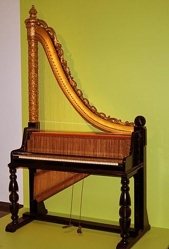 """Claviharp - Claviharp, Ignaz Lutz (?), Vienna, c. 1891; Haus der Musik (""""Fruchtkasten""""), Landesmuseum Württemberg, Stuttgart (Germany)"""