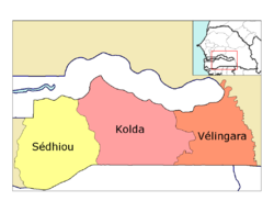 Kolda région, divided into 3 départements