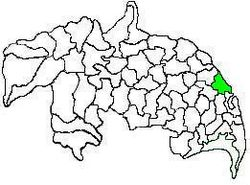 Mandal map of Guntur district showing Kollipara mandal (in green)