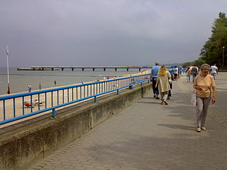 Poland's Wedding to the Sea - The flag on the left marks the site of the 1945 Wedding in Kołobrzeg