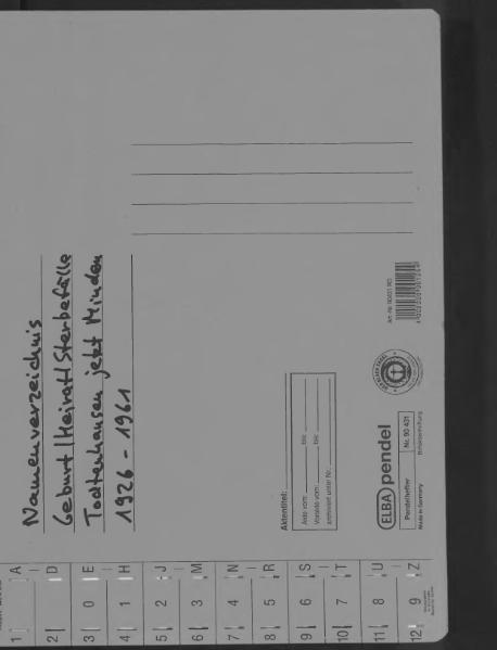 File:Kombiniertes Namensverzeichnis zu den Geburts-, Heirats- und Sterberegistern des Standesamtes Todtenhausen, 1926 bis 1961.djvu