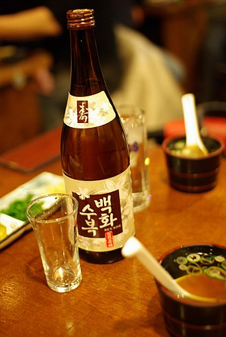Rice wine - A bottle of cheongju, a Korean rice wine.
