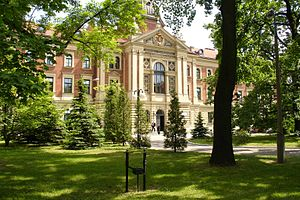 Main building of the 19th century Polish university. Summer.