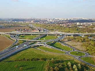 Highways in the Czech Republic - The largest Czech crossroad in Lahovice near Prague, D0 motorway