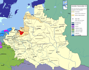 Prince-Bishopric of Warmia - Exempt Prince-Bishopric of Warmia in 1635. (In red on a map of the Polish-Lithuanian Commonwealth)