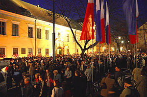 Bishop's Palace, Kraków - Palace during ceremony, April 3, 2005