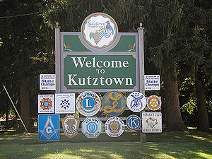 "Kutztown, Pennsylvania - ""Welcome to Kutztown"" sign on East Main Street"