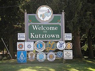 "Kutztown, Pennsylvania - ""Welcome to Kutztown"" sign on East Main Street"