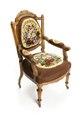 Länstol av valnöt med blommigt tyg, 1800-tal - Hallwylska museet - 108403.tif