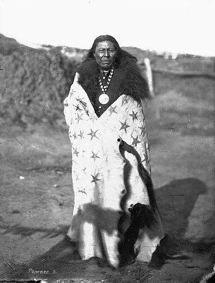 La-Roo-Chuck-A-La-Shar (Sun Chief) was a Pawnee chief who died fighting the Lakota at Massacre Canyon. La-Roo-Chuck-A-La-Shar-(Sun-Chief)-Pawnee.jpg