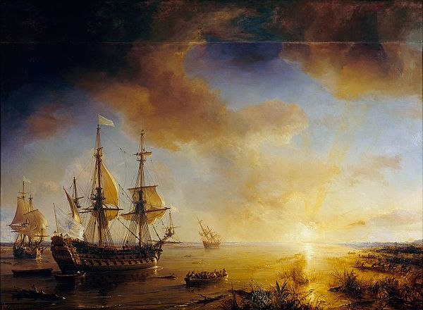La Salle's Expedition to Louisiana in 1684, painted in 1844 by Theodore Gudin. La Belle is on the left, Le Joly is in the middle, and L'Aimable is grounded in the distance, right. LaSallesExpeditiontoLouisiana.JPG