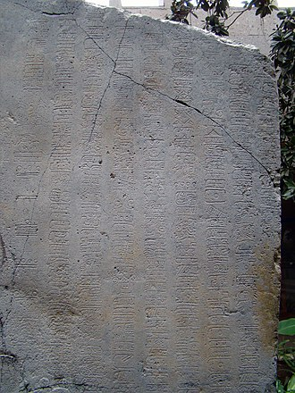 Maya numerals - Detail showing in the right columns glyphs from La Mojarra Stela 1.  The left column uses Maya numerals to show a Long Count date of 8.5.16.9.7, or 156 CE.