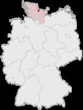 Mapa de Alemania, posición de Kiel destacada