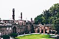 Lahore Fort, showing minarets of Badshahi Mosque and domes of Moti Masjid.jpg