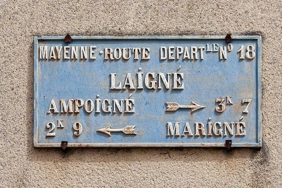 Plaque de cocher à Laigné.
