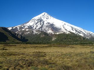 Lanín volcano on the border of Argentina and Chile