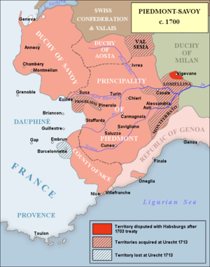 Battle of Staffarda - In 1690, the territories of Victor Amadeus II, Duke of Savoy, primarily split into several distinct areas, notably: Nice, Savoy and Piedmont, which contained the capital city of Turin.