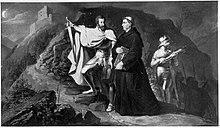 Christoph von Langenmantel bringt Luther nach Hohenschwangau. Fresko von Wilhelm Lindenschmit dem Älteren, Schloss Hohenschwangau (Quelle: Wikimedia)