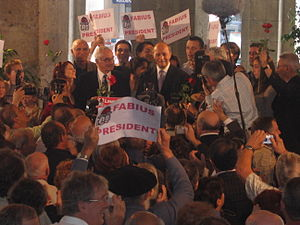 French Socialist Party presidential primary, 2006 - Fabius and supporters celebrating in Fleurance after his official registration