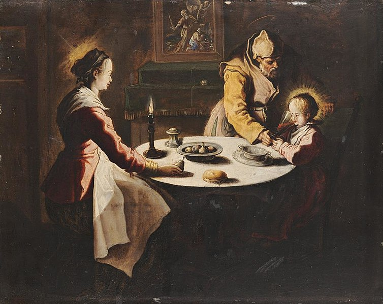 File:Le Bénédicité (Saying Grace or The Holy Family at Supper) - Jean LeClerc.jpg