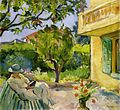 Le Cannet Madame Lebasque Reading in the Garden by Henri Lebasque.jpeg