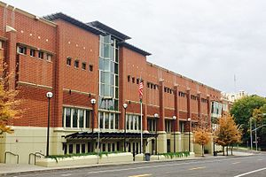 Lewis and Clark High School - 2001 E.L. Hunter Field House to the east of the historic school building just visible at right.  The view is looking southwest.