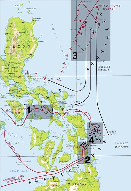 The four engagements in the Battle of Leyte Gulf Leyte map annotated.jpg