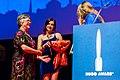 Lisa Tuttle and Ada Palmer, at the Hugo Award Ceremony, at Worldcon 75 in Helsinki 2017.jpg